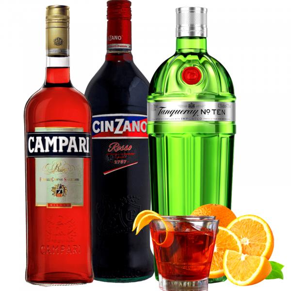 Pachet Negroni Campari 0.7L&Cinzano Rosso 1L&Tanqueray Ten Dry Gin 0.7L [0]