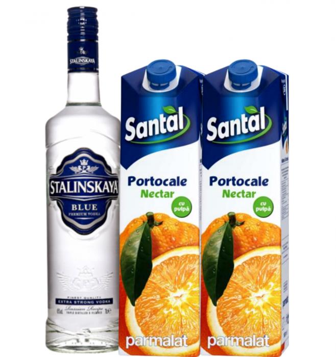 Pachet Vodka Stalinskaya Blue 0.7L & Santal Portocale 1L [1]