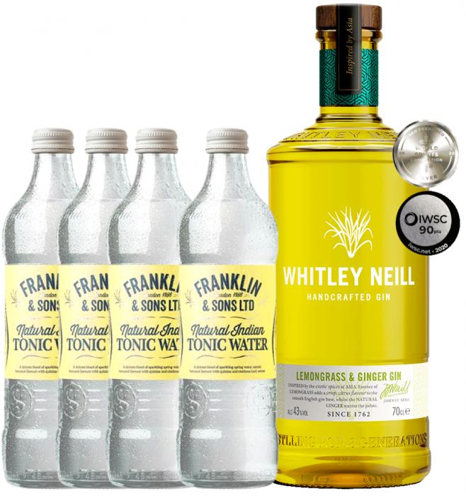 Pachet Whitley Neill Lemongrass & Ginger 0.7L & Indian tonic water 0.2L [0]
