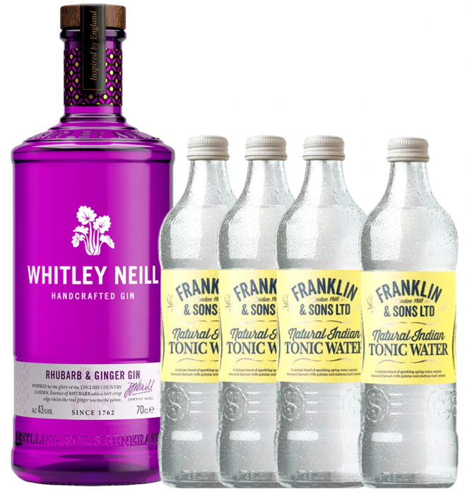 Pachet Whitley Neill Rhubarb&Ginger 0.7L & Indian Tonic Water 0.2L [0]