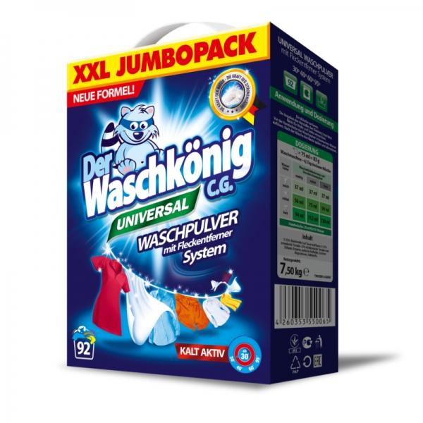 Der Waschkönig C.G. Detergent universal, 7.5 kg, 92 spalari, Universal [0]