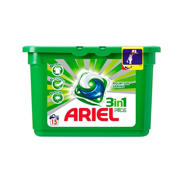 Ariel Detergent Capsule 3in1 PODS, 15 buc, Mountain Spring [0]