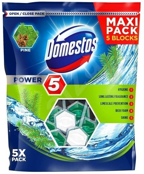 Domestos Odorizant WC cu bile, 5 x 55 g, Power 5 Pine [0]