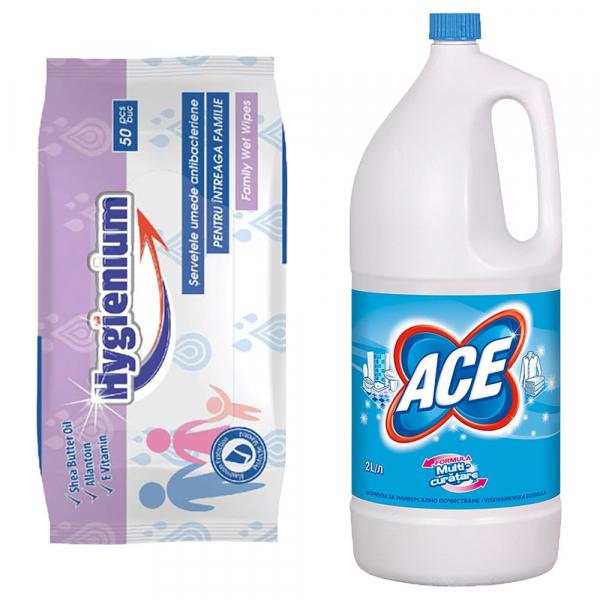Pachet promo Hygienium Servetele umede antibacteriene, 50 buc + Ace Inalbitor, 2 L, Regular [0]