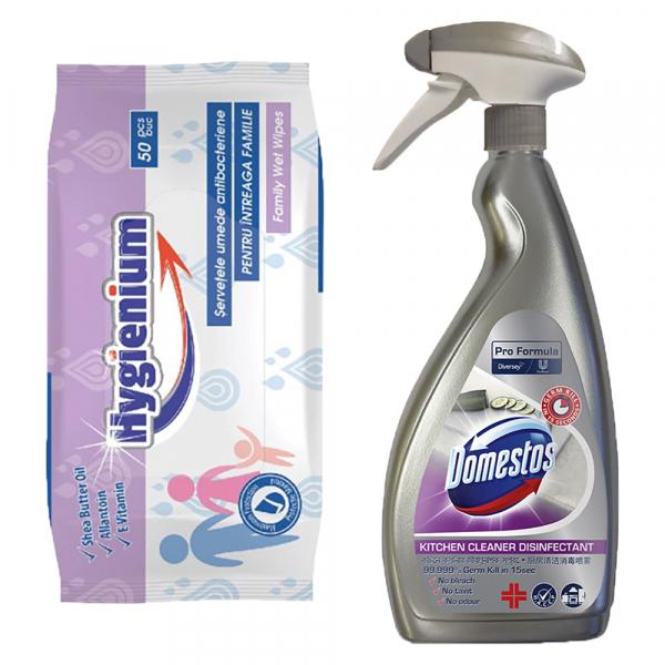 Pachet promo Hygienium Servetele umede antibacteriene, 50 buc + Domestos Dezinfectant bucatarie, 750 ml, Pro Formula [0]