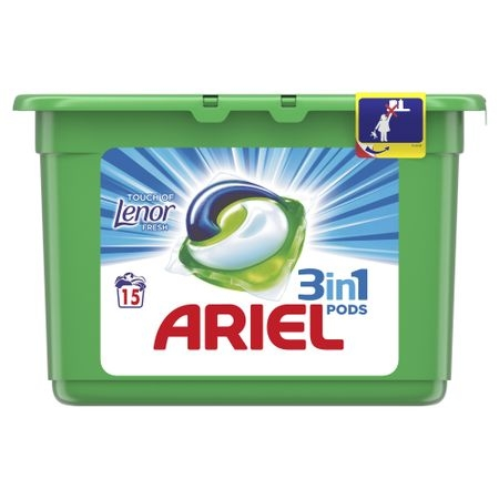 Ariel Detergent Capsule 3in1 PODS, 15 buc, Touch of Lenor Fresh [0]