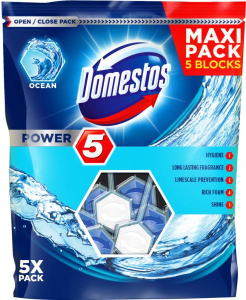 Domestos Odorizant WC cu bile, 5 x 55 g, Power 5 Ocean [0]
