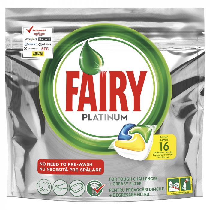 Fairy Detergent pentru masina de spalat vase, 16 capsule, Platinium [0]