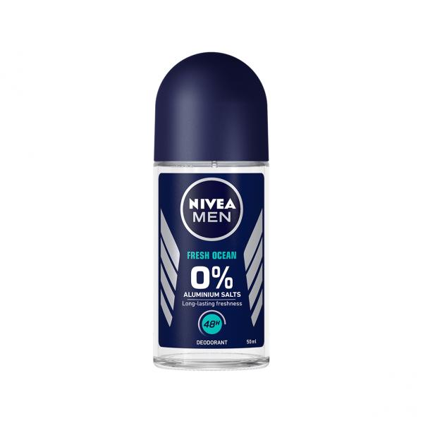 Nivea Deodorant Roll-on, Barbati, 50 ml, Fresh Ocean - 0 percent Aluminium Salts [0]