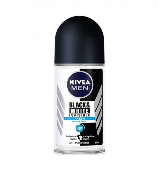 Nivea Deodorant Roll-on, Barbati, 50 ml, Invisible Black and White Fresh [0]