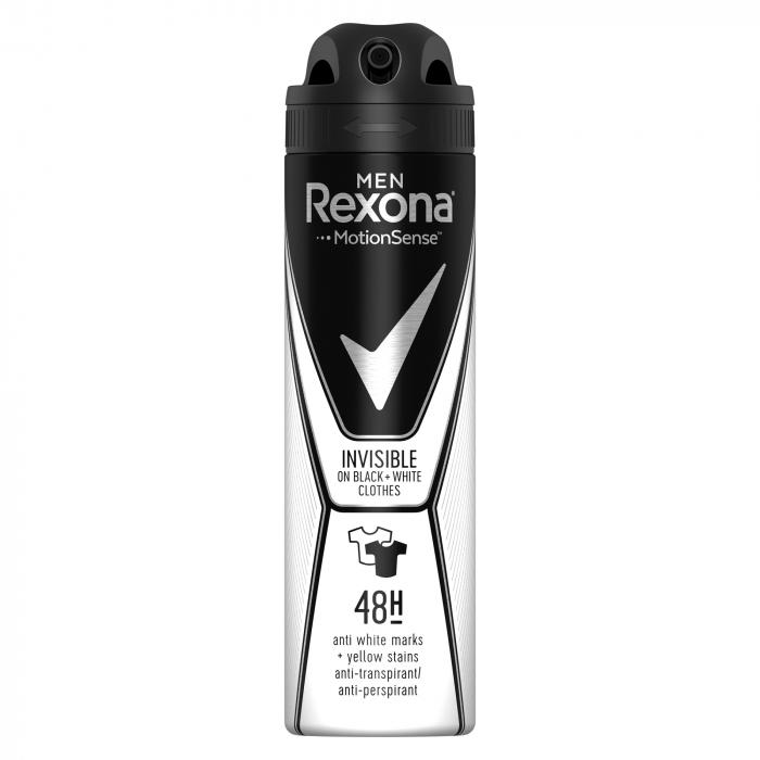 Rexona Deodorant spray, Barbati, 150 ml, Invisible Black & White [0]