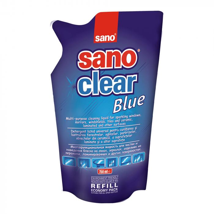Sano Solutie curatat geamuri, Rezerva, 750 ml, Clear Blue [0]