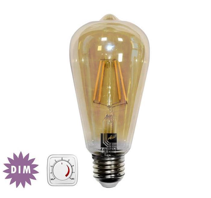 """Bec decorativ """" avocado"""" auriu cu LED COG dimabil E27 6W (≈60w) lumina calda [0]"""