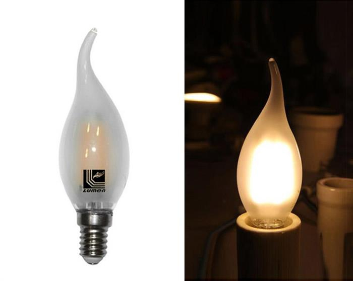 Bec lumanare ornamental mat cu LED COG E14 4W (≈48w) lumina calda [0]