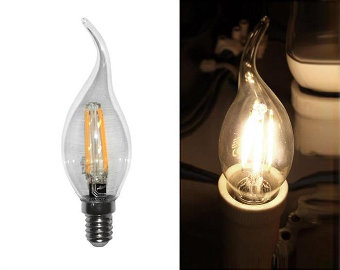 Bec lumanare ornamental transparent cu LED COG E14 4W (≈48w) lumina calda [0]