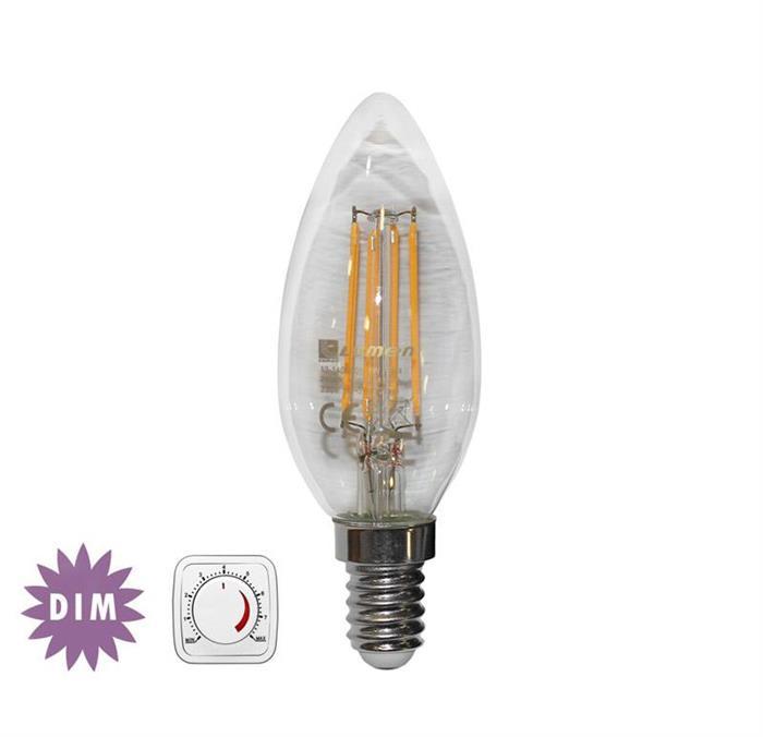 Bec lumanare transparent cu LED COG dimabil E14 4W (≈48w) lumina calda [0]