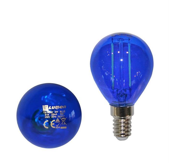 Bec sferic colorat cu LED COG E14 2W (≈25w) lumina albastra [0]