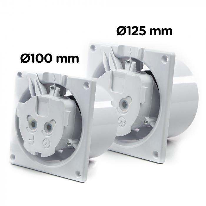 Ventilator baie gama Drim cu senzor de umiditate si timer-Ø125 Plexiglass Alb lucios [1]