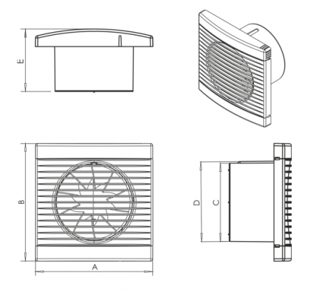 Ventilator axial gama Play cu timer (2-23min.) - Ø100 [1]