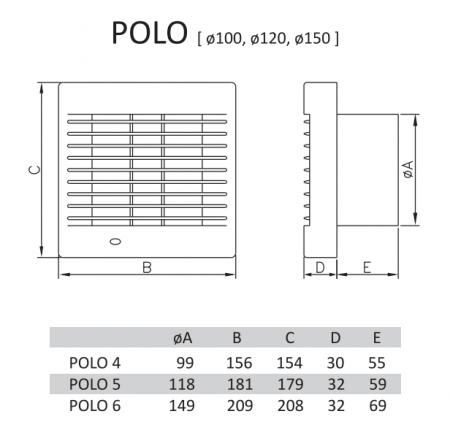 Ventilator axial gama Polo senzor umiditate&grila automata&timer Ø120 [1]