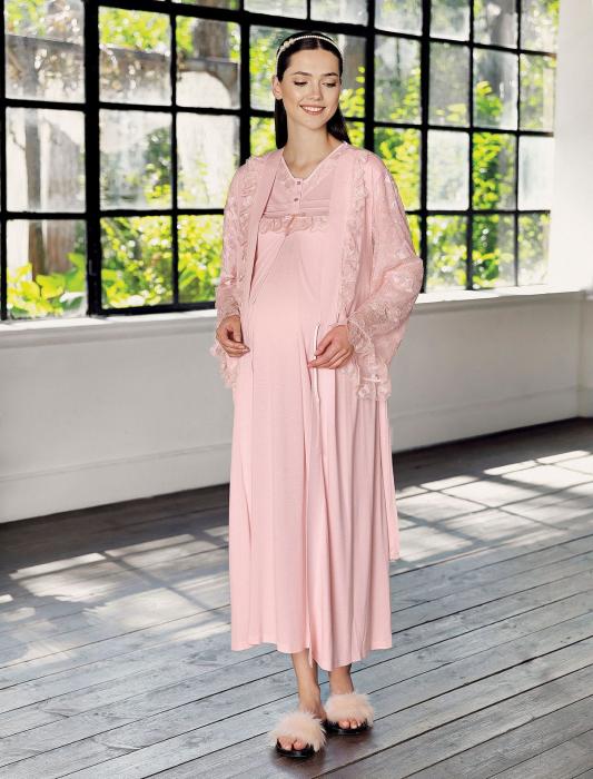 blush-selena-set-2-piese-camasa-noapte-si-halat-sarcina-si-maternitate 0