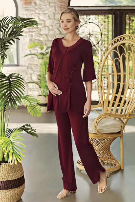 bordo-star-set-2-piese-pijama-eleganta-maneca-scurta [0]