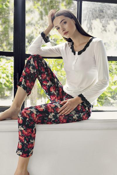 duo-rose-set-pijama-2-piese-cu-nasturei 0
