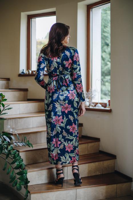 Flower Velvet Blue - Rochie Eleganta Gravida & Alaptare, Transport Gratuit 5