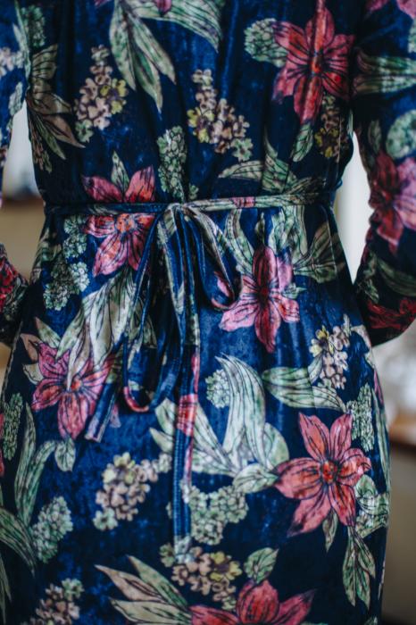 Flower Velvet Blue - Rochie Eleganta Gravida & Alaptare, Transport Gratuit 2