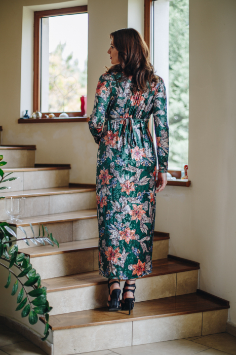 Flower Velvet Green - Rochie Eleganta Gravida & Alaptare, Transport Gratuit 4