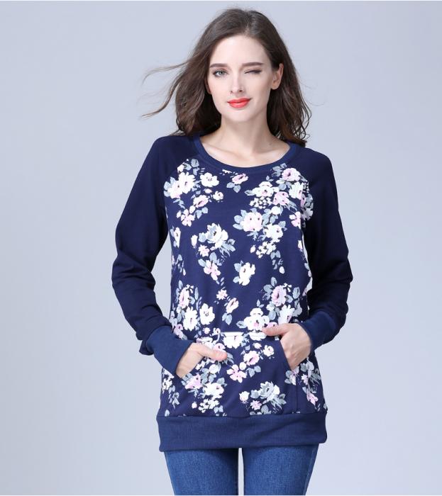 Hanorac Blue Rose - Bluza Gravida si pt Alaptare 2