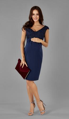 Blue Elegance- Rochie Eleganta Gravida cu bust dantelat, Transport Gratuit0