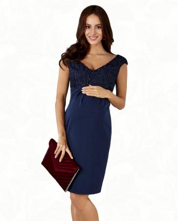 Blue Elegance- Rochie Eleganta Gravida cu bust dantelat, Transport Gratuit1