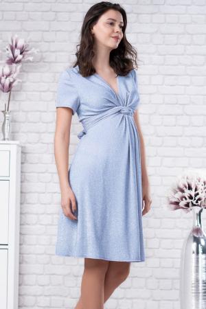 Brilliant Blue - Rochie Eleganta din lurex Premium pentru Gravide & Maternitate, Transport Gratuit0