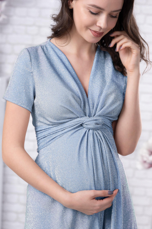 Brilliant Blue - Rochie Eleganta din lurex Premium pentru Gravide & Maternitate, Transport Gratuit1