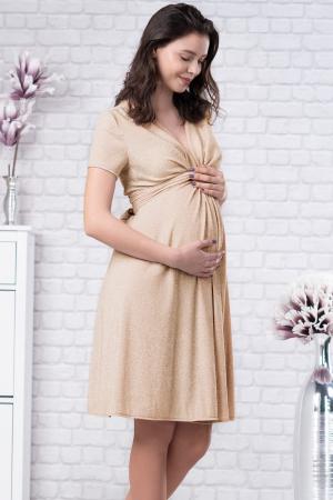 Brilliant Gold - Rochie Eleganta din lurex Premium pentru Gravide & Maternitate, Transport Gratuit0