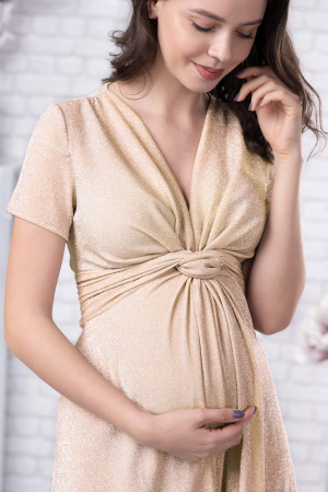 Brilliant Gold - Rochie Eleganta din lurex Premium pentru Gravide & Maternitate, Transport Gratuit1
