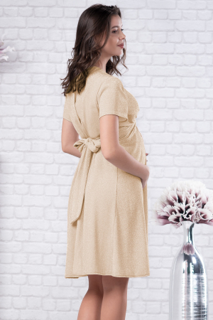 Brilliant Gold - Rochie Eleganta din lurex Premium pentru Gravide & Maternitate, Transport Gratuit3