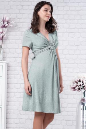 Brilliant Mint - Rochie Eleganta din lurex Premium pentru Gravide & Maternitate, Transport Gratuit0