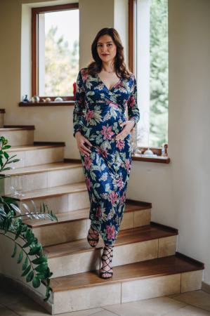 Flower Velvet Blue - Rochie Eleganta Gravida & Alaptare, Transport Gratuit0