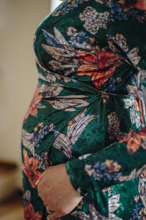 Flower Velvet Green - Rochie Eleganta Gravida & Alaptare, Transport Gratuit3