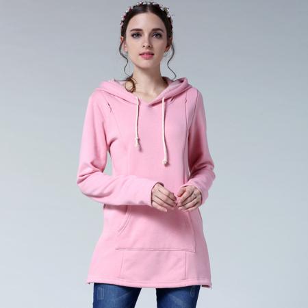 Hanorac Flausat Baby Pink - Bluza Calduroasa Gravide & Alaptare7