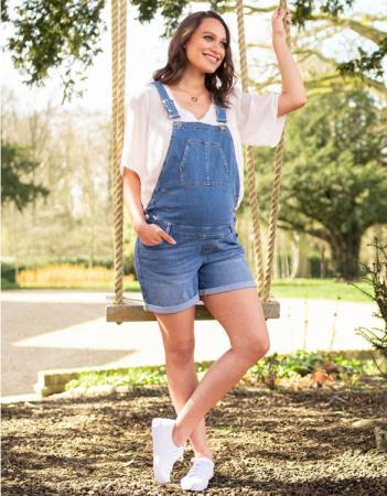 Summer Mama - Salopeta jeans cu pantaloni scurti0