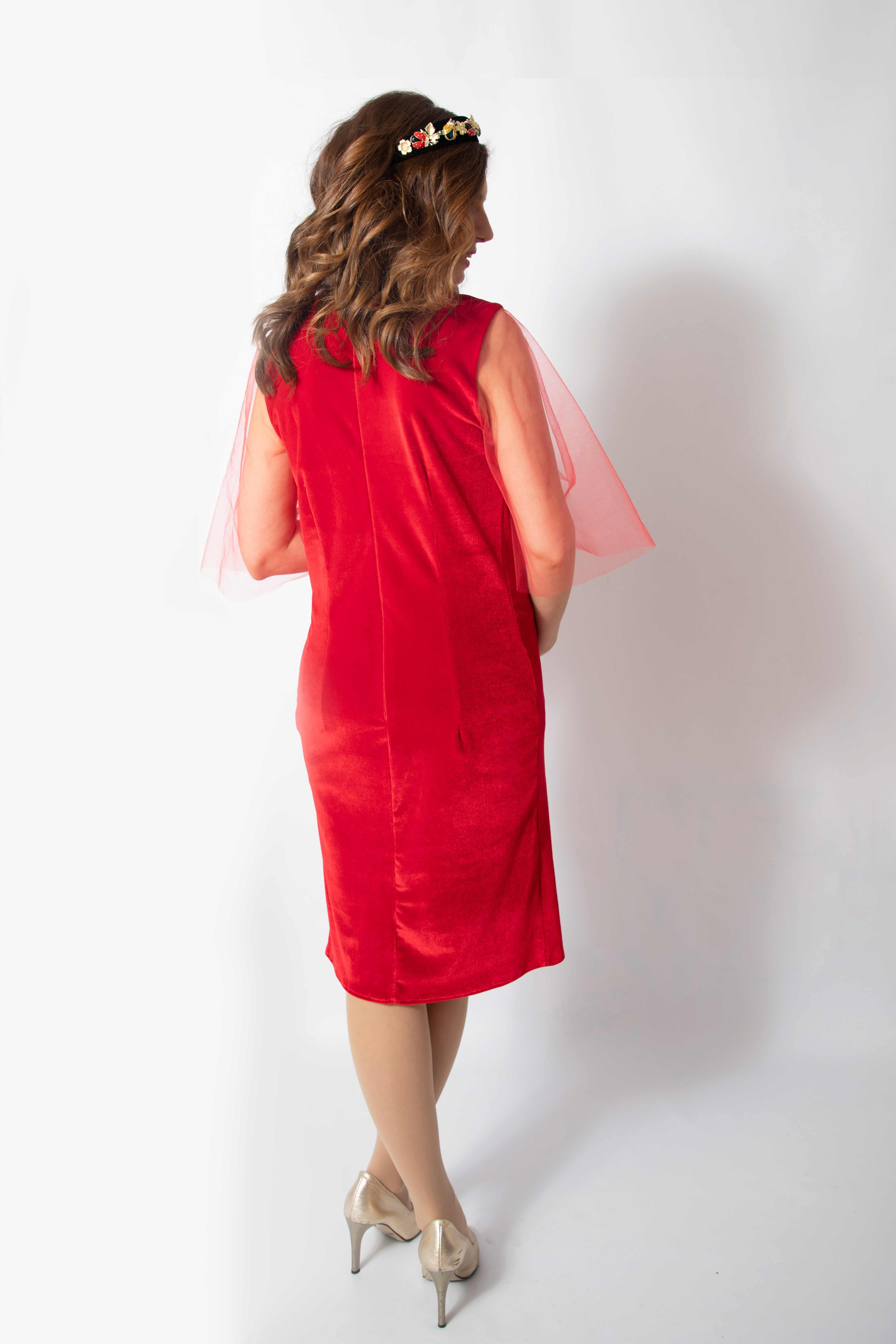 rouge-tulle-rochie-eleganta-gravida-din-catifea-premium-transport-gratuit 6