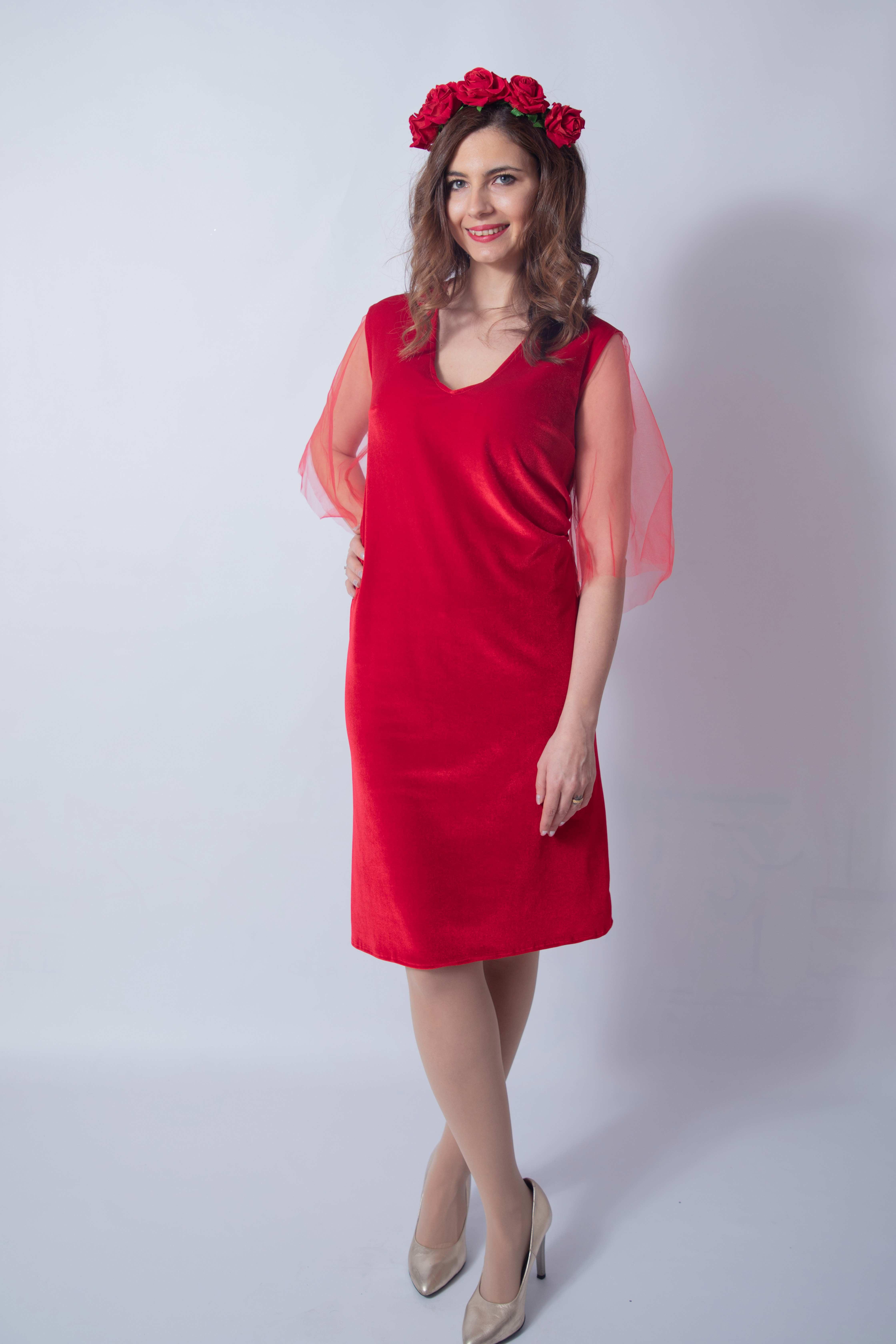 rouge-tulle-rochie-eleganta-gravida-din-catifea-premium-transport-gratuit 5