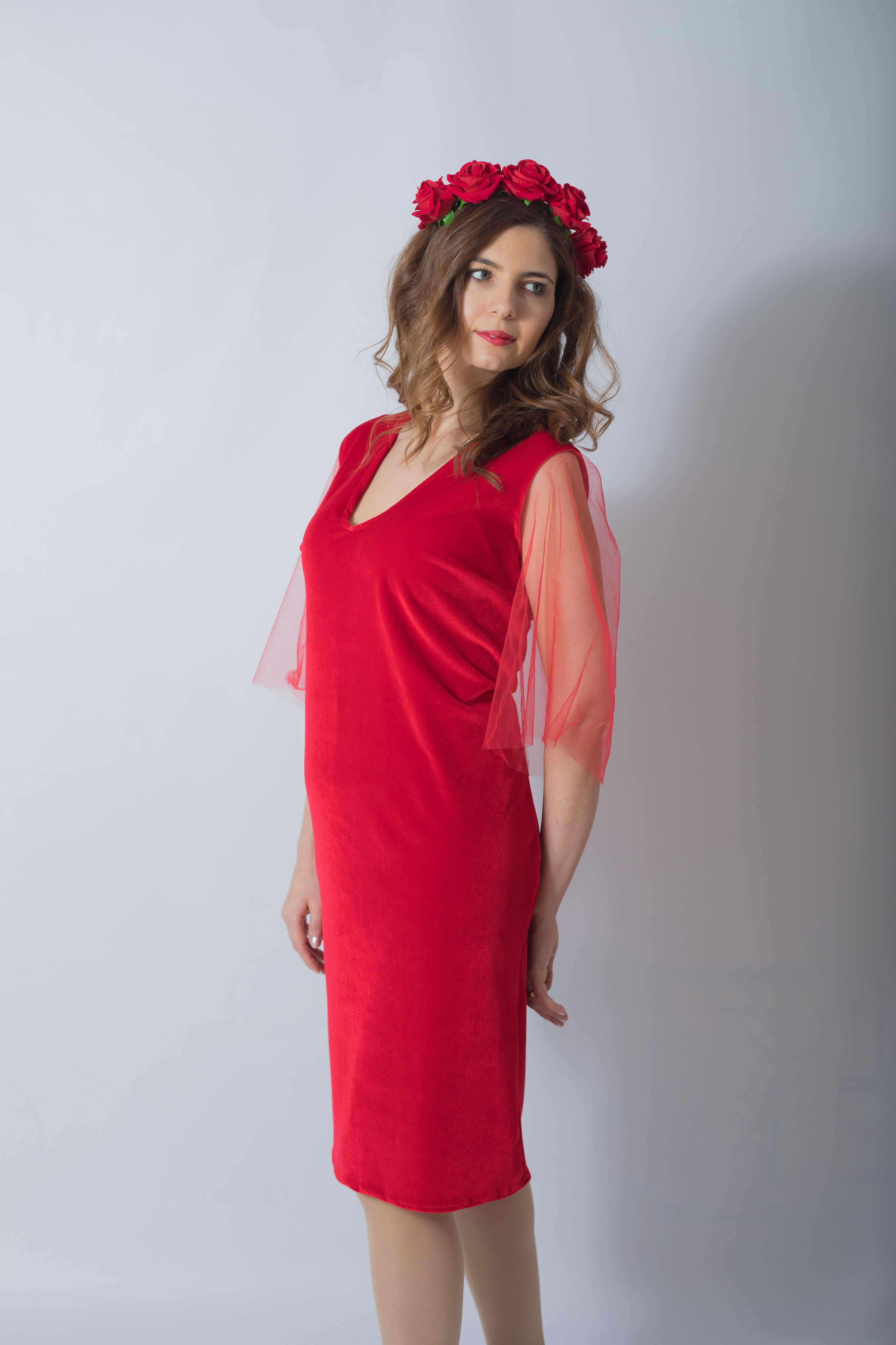 rouge-tulle-rochie-eleganta-gravida-din-catifea-premium-transport-gratuit 7