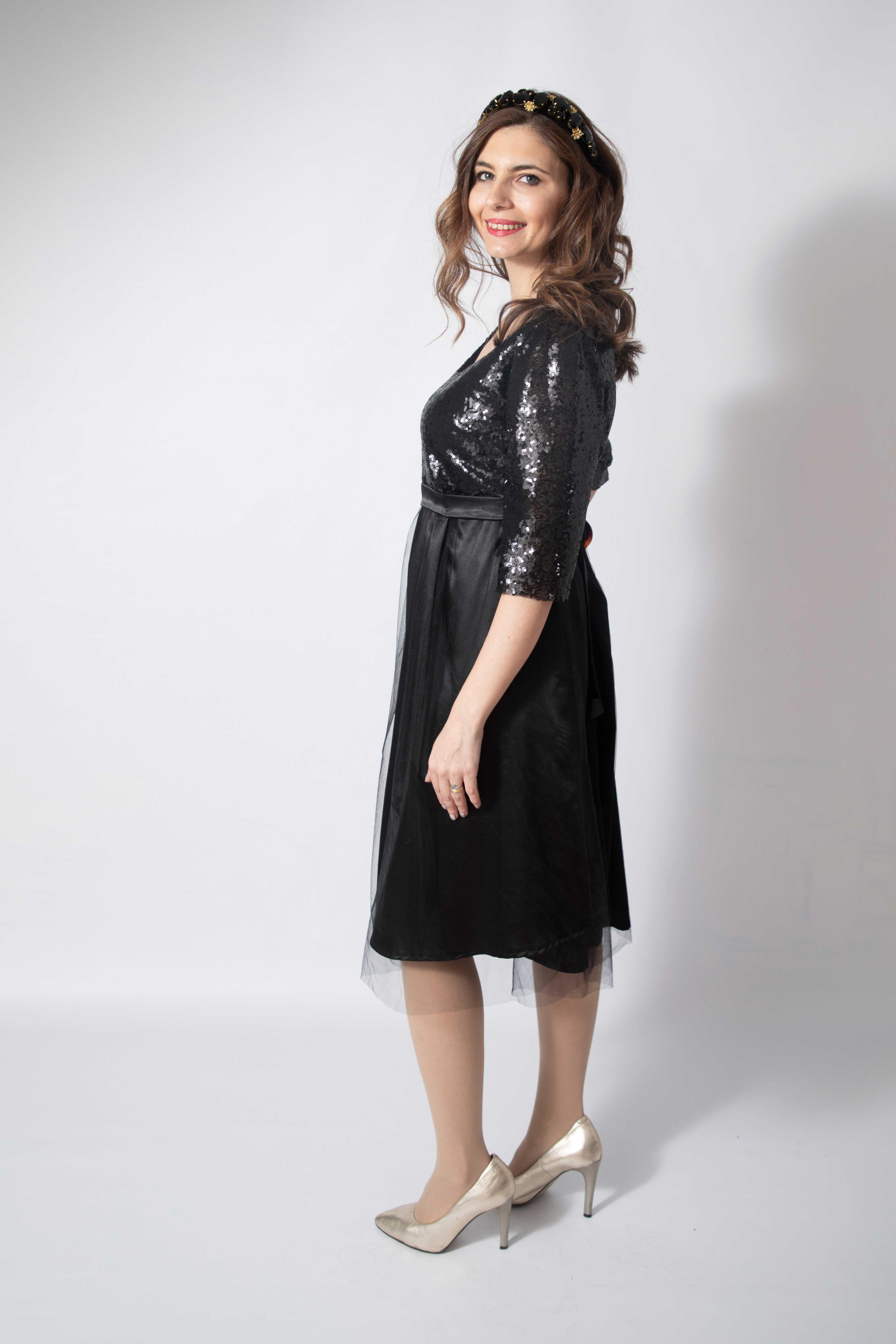 tulle-noire-rochie-eleganta-gravida-cu-paiete-stralucitoare-transport-gratuit 4