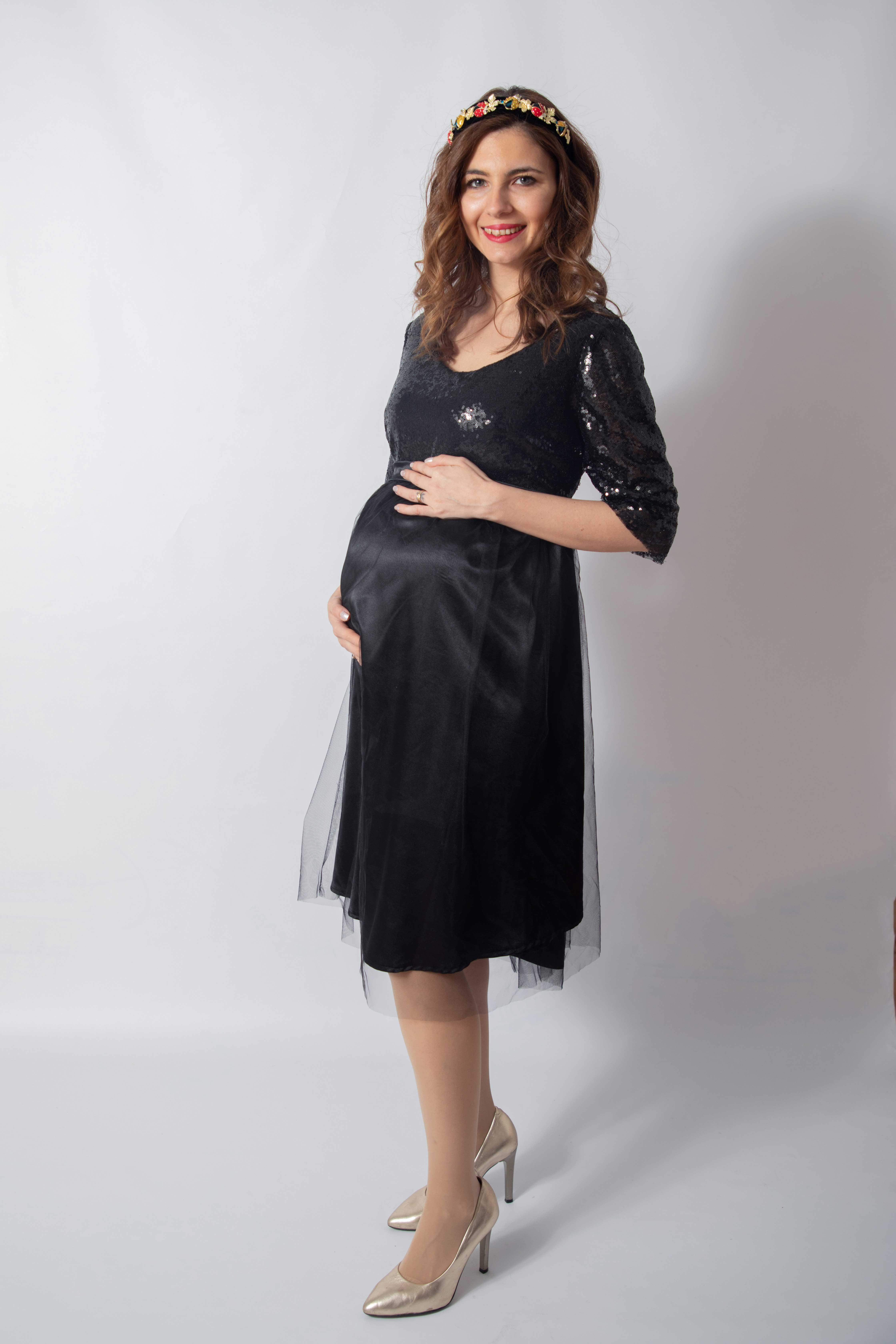 tulle-noire-rochie-eleganta-gravida-cu-paiete-stralucitoare-transport-gratuit 1