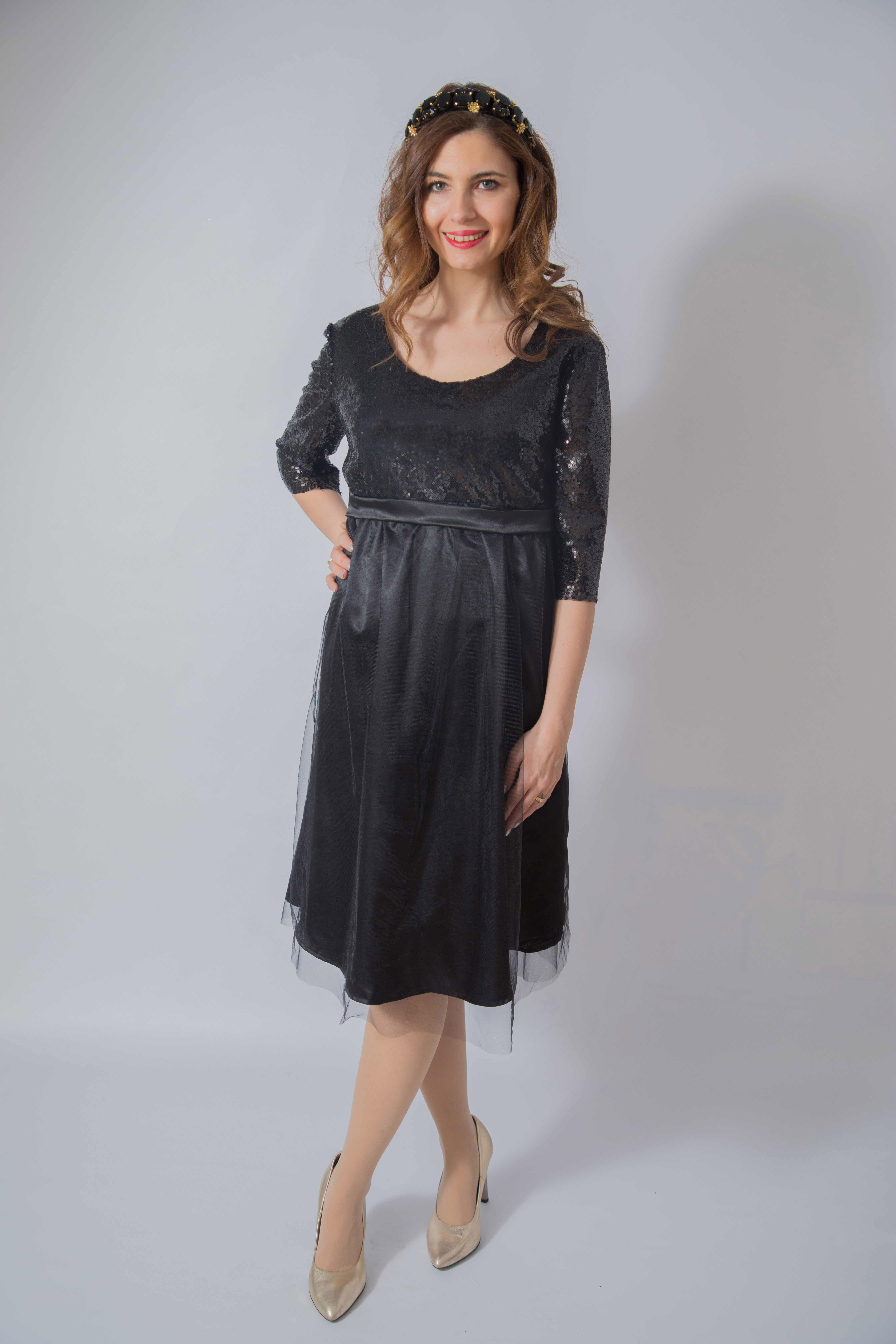 tulle-noire-rochie-eleganta-gravida-cu-paiete-stralucitoare-transport-gratuit 0