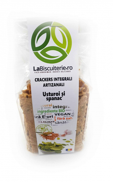 Crackers integrali cu usturoi și spanac 125 gr [0]